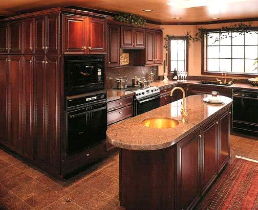MDF Mahogany Veneer Kitchen Cabinetry